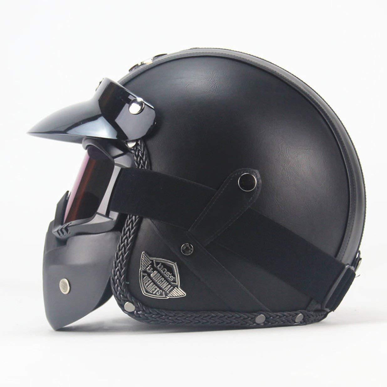 Dark Gray 2058L para Motocicleta 3//4 dise/ño Retro Exquisito Hecho a Mano Coche Casco cl/ásico de Cuatro Estaciones AOKOULV