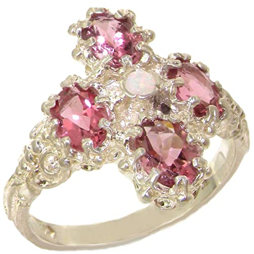925 Sterling Silver Real Genuine Opal and Pink Tourmaline Womens Band Ring