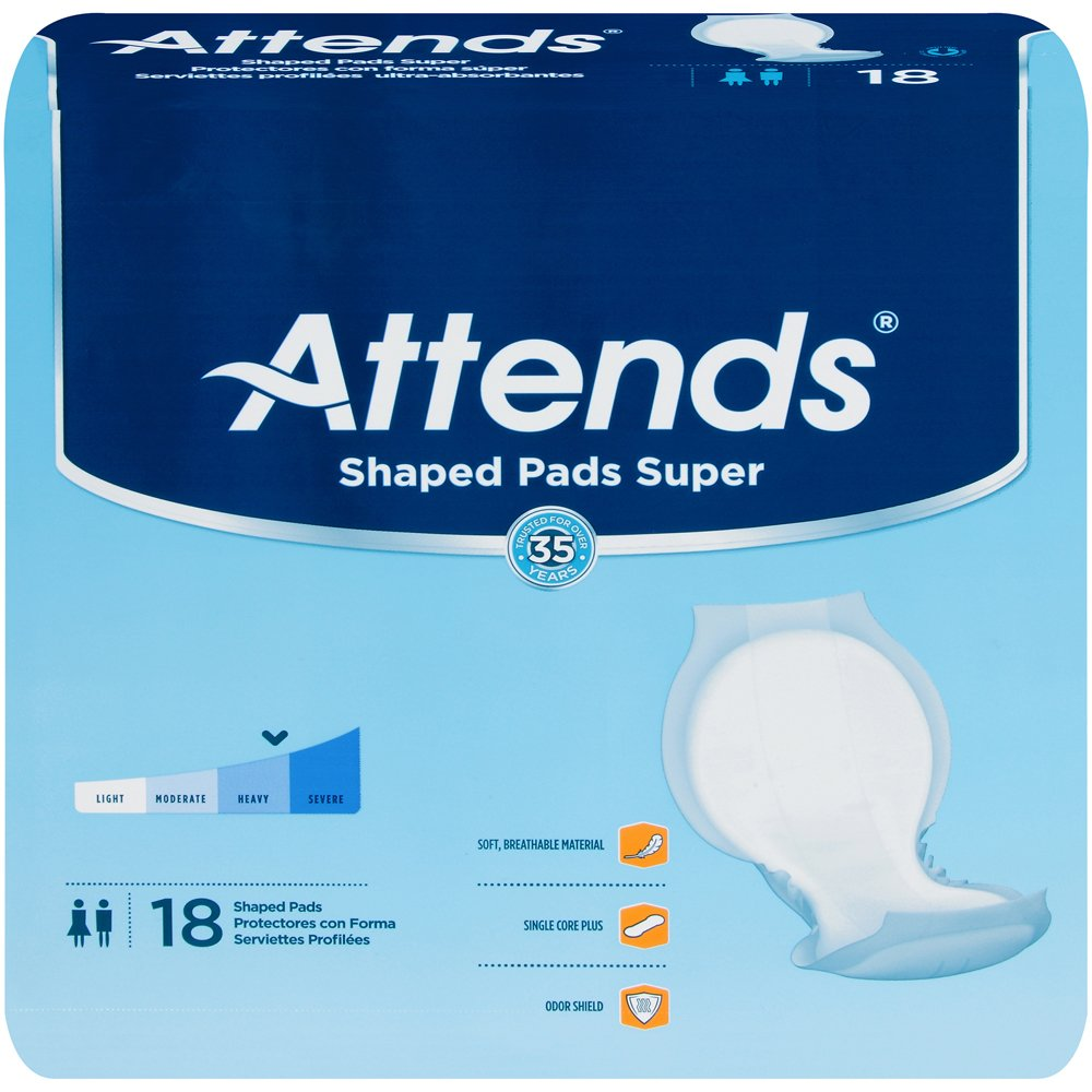 Attends Shaped Pads, Attends Shaped Pads Super -Sp, (1 CASE, 72