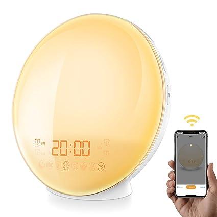 [APP Intelligent] AMIR Wake-Up Light, Alarm Clock, 7 Colors Mood Atmosphere  Lamp, Beside Night Light, Digital Clock, FM Radio, 7 Natural Sounds, Dual