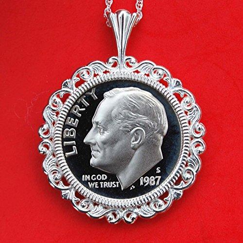 1987 Gem Proof - US 1987 Roosevelt Dime Gem BU Uncirculated Proof Coin Soild 925 Sterling Silver Necklace w. 18