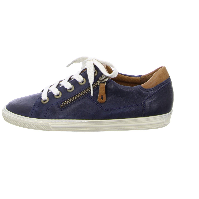 Paul Grün Leder 4128-042 Damen Sneaker aus Hochwertigem Leder Grün Filigrane Kontrastnähte Ocean/Cuoi 967de2