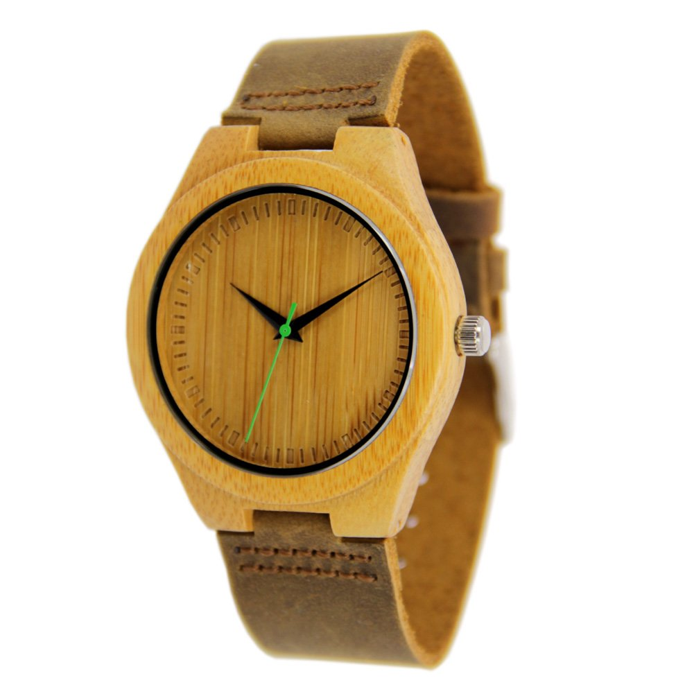 Bamboo Watches for Men with Genuine Leather Strap and Green Second Hand