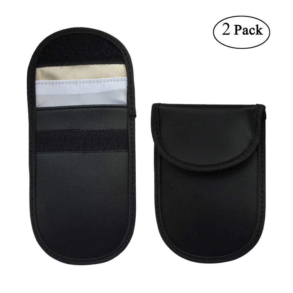 Car Key Signal Blocker Case, niceeshop(TM) 2 Pack Key Keyless Entry Fob Guard Faraday Bag RFID Signal Blocking Case Pouch, Antitheft Lock Devices, Cell Phone Privacy Protection Security FEMSALBJBJ096