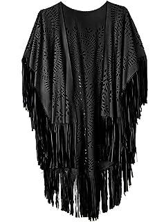 b0e26c7a7 PERSUN Women's Faux Suede Kimono Cape Fringed Asymmetric Cover up Shawl