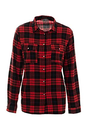 Womens Ladies Red Tartan Checked Shirt Womens Top Shirt Blouse 8 ...