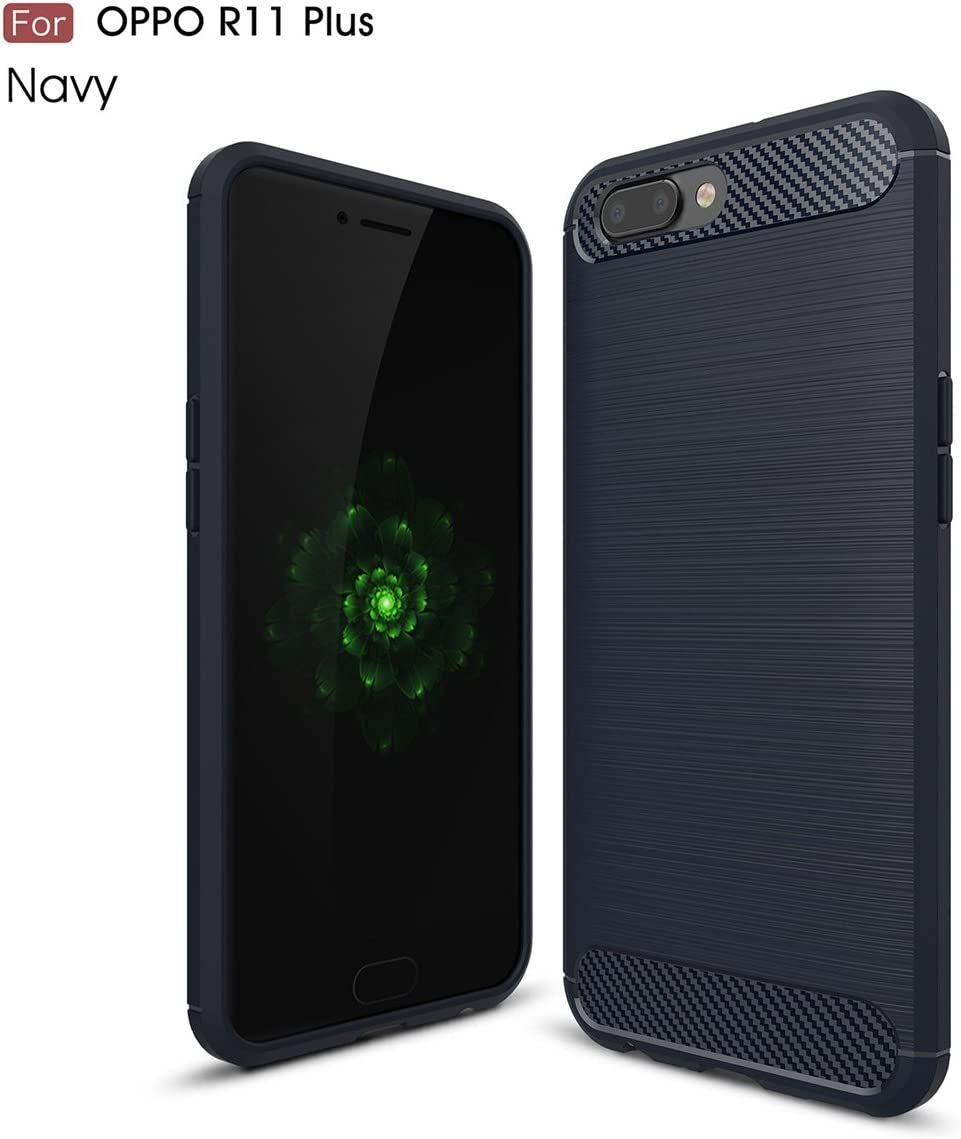 For OPPO R11 Plus Carbon Fiber Brushed Texture Slim TPU Back Case ...