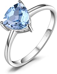JewelryPalace Oval 1.5ct Natural Sky Blue Topaz Birthstone Solitaire Ring Solid 925 Sterling Silver Size l n p r UAwnifCIXz