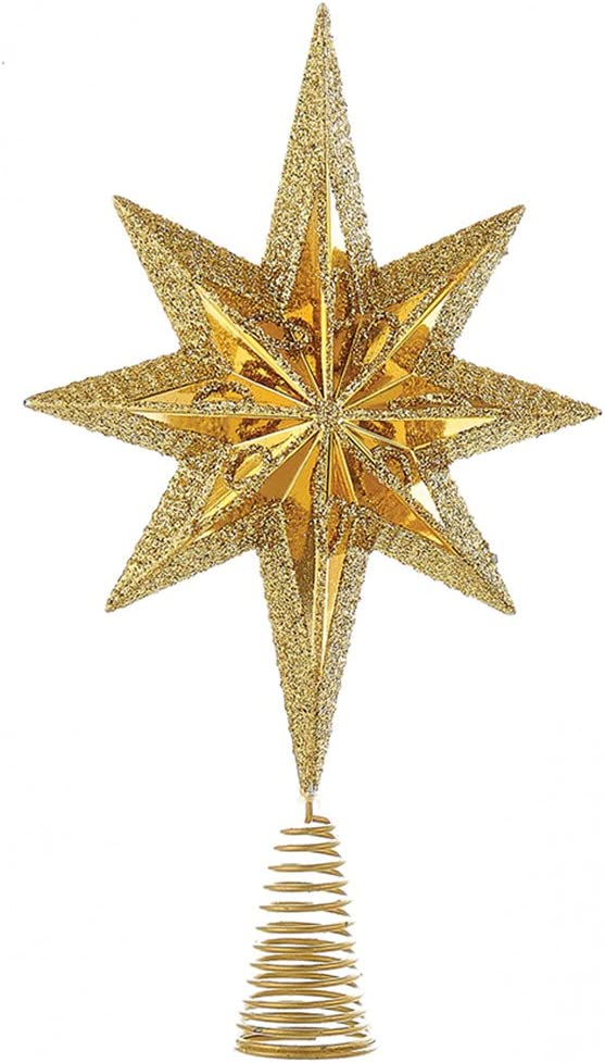 Kurt Adler Christmas Star Mini Tree Topper Star Burst 6.75 inch Gold