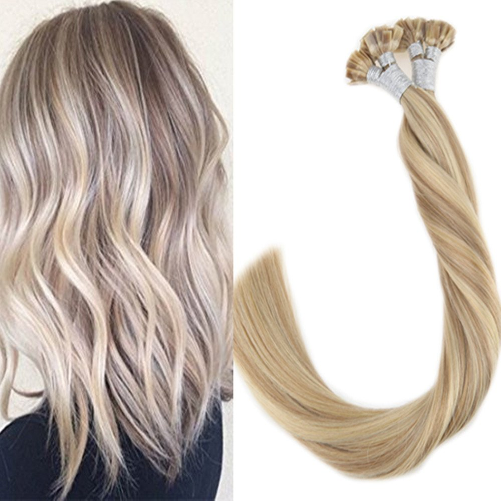 Amazon Laavoo 16 Real Hair Extensions Flat Tip For Blonde