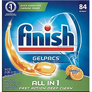 Ratings and reviews for Finish All in 1 Gelpacs Orange, 84ct, Dishwasher Detergent Tablets