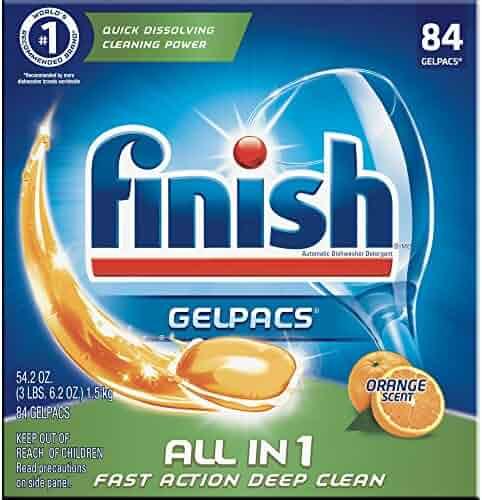 Finish All in 1 Gelpacs Orange, 84ct, Dishwasher Detergent Tablets