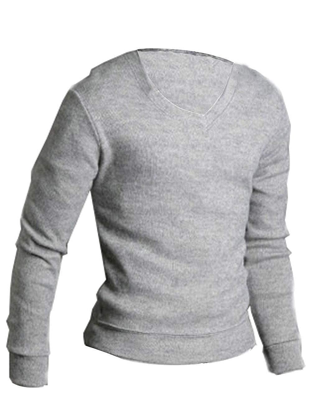 LemonGirl Comfortably Mens Slim Fit Longsleeve Light Weight V-Neck Pullover Sweaters