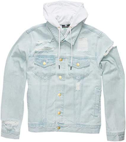 LRG Mens Research Collection Hooded Denim Jacket
