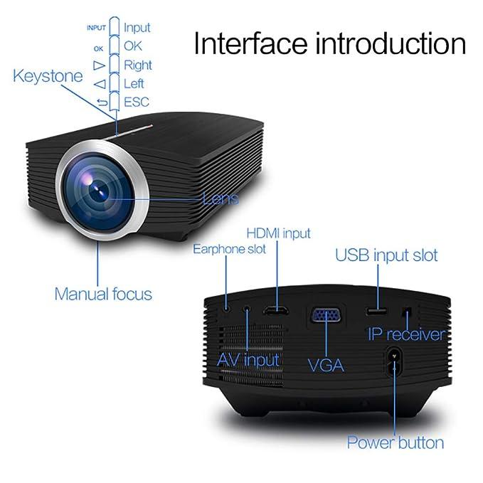 PORJH Portátil HD Universal, Mini Proyector De Bolsillo LED ...