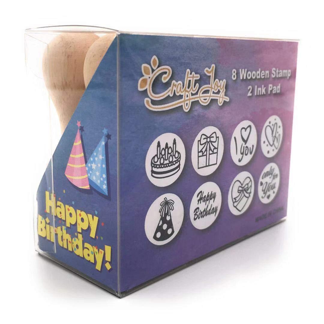 Birthday//Valentines Gift Craft Joy Wooden Stamp Set