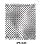 Iapetus Cast Iron Cleaner - XL 8×6 inch Stainless Steel (316 Grade) Chainmail Scrubber-for Waffle Iron Pans ,Seasoned Pan,Grill - Best Pot Brush (8×6 inch)
