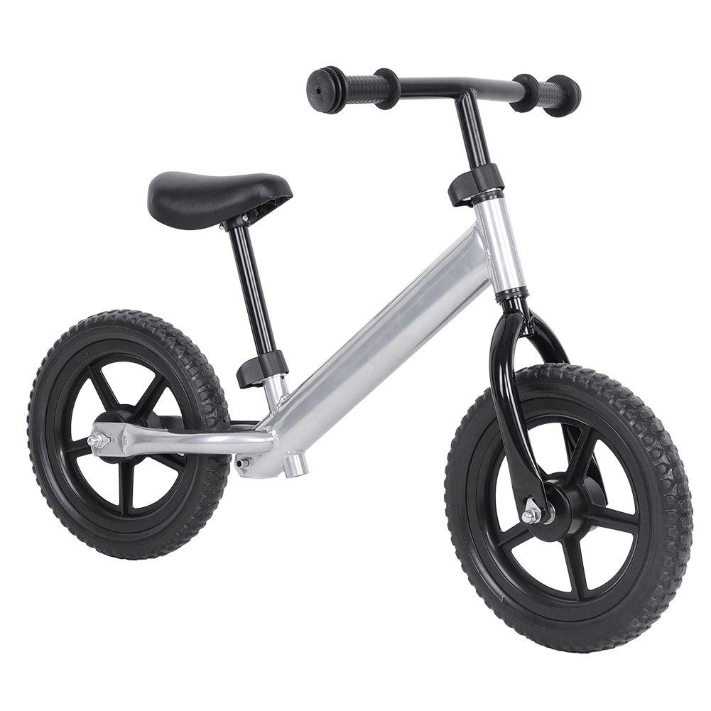 Yosoo 12 Kids Sport Balance Bike Pre-Schooler Bike Adjustable Handlebar Seat (Silver)