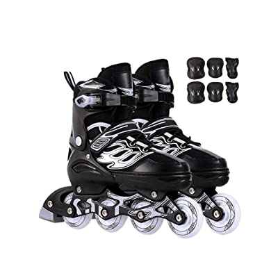 Sljj Outdoor Beginner Fun Illuminating Inline Skates, Fashion Comfortable Speed Roller Skates Combo for Adult and Teen Black (Color : B, Size : XL (EU 42-EU 45)): Home & Kitchen