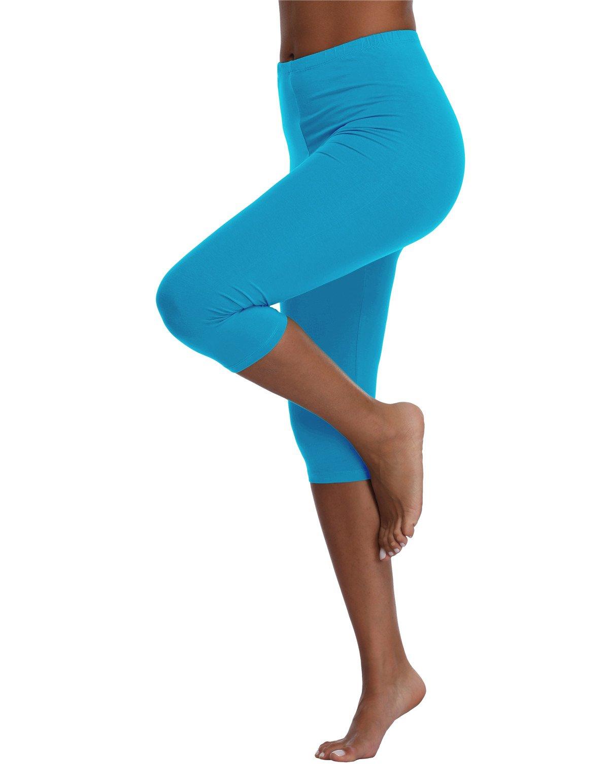 Kotii Women's Summer Lightweight Capri Leggings Plus Size Crop Leggings Stretch Tights Pants,Light Blue,Fits S-M