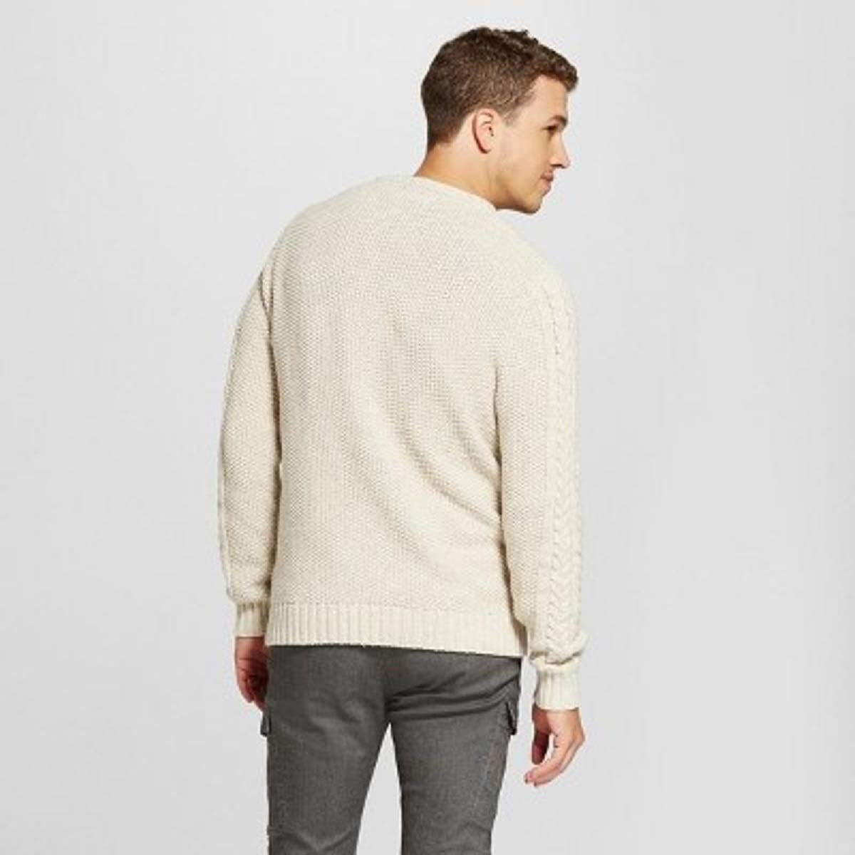 Oatmeal Medium M Goodfellow /& CO Gorgeous Mens Cable Crew Neck Sweater