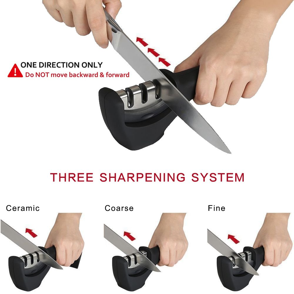 Knife Sharpener,MABOLON Multifunction Kitchen Knife Sharpening Professional Tool System with 3 Stage for Straight Tungsten Diamond Ceramic and Serrated Knives (Black),Include natural cleaning cloth