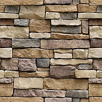 Stone Peel and Stick Wallpaper - Self Adhesive Wallpaper - Use as Contact Paper, Wall Paper, or Shelf Paper - Easily Removable Wallpaper - Brick Wallpaper ...