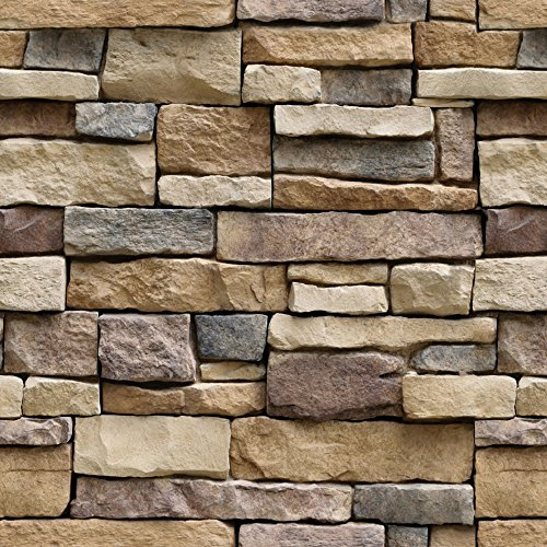 - Stone Peel and Stick Wallpaper - Self Adhesive Wallpaper - Use as Contact Paper, Wall Paper, or Shelf Paper - Easily Removable Wallpaper - Brick Wallpaper - (1, 17.71