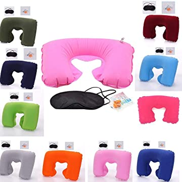 Travel Outdoor U Shaped Neck Rest Flight Pillow Cushion Eye Mask Earplug Set