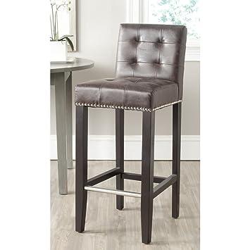 Sensational Safavieh Mercer Collection Thompson Barstool Antique Brown Lamtechconsult Wood Chair Design Ideas Lamtechconsultcom