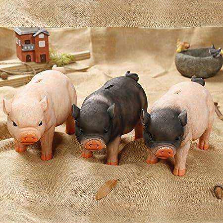 Creative Simulation Resin Pig Coin Money Piggy Bank Bitrthday Gift Toy for Kids Children 10x6x4.3 C