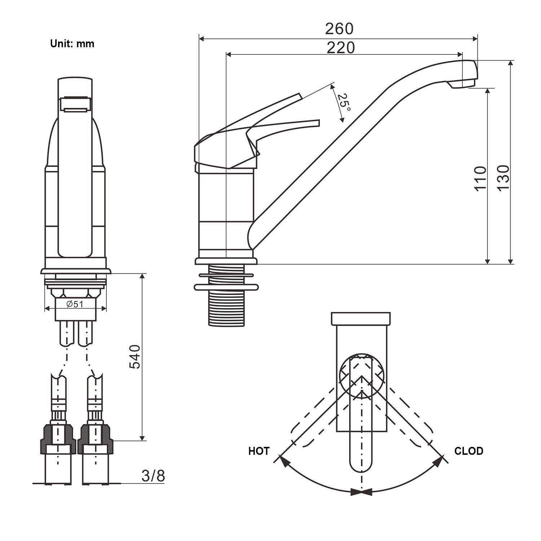 Turbo BONADE Niederdruck Küchenarmatur Spültischarmatur Küche Armatur MU68