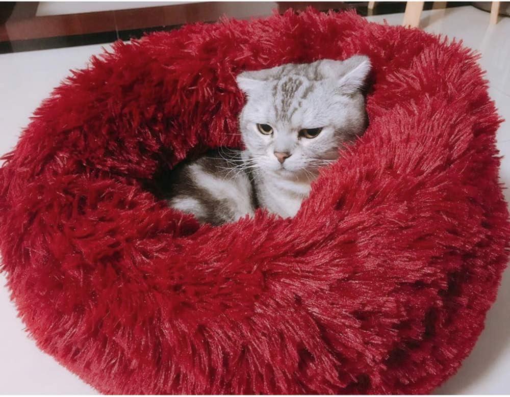 Galapara Cama para Mascotas Deluxe Plush Redonda de Pelo Nido de Donut con Cojín Perro Invierno Portátil Cálido Suave y cómodo Perrera Profundo para Mascotas Gatos y Perros Pequeños