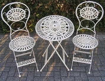 Casa Padrino Jugendstil Gartenmöbel Set Altweiss   1 Tisch, 2 Stühle   Eisen    Garten