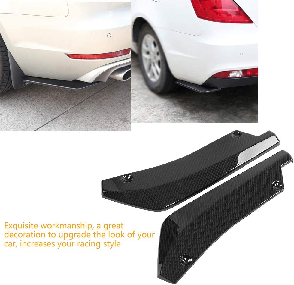 Qiilu 1 Pair of Car Universal Rear Bumper Installed at the bottom for Lip Diffuser Splitter Canard Protector Black