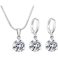 CARSINEL 10.5 mm Cubic Zirconia Round Halo Necklace & Earrings Wedding Jewelry Set for Brides & Bridesmaids