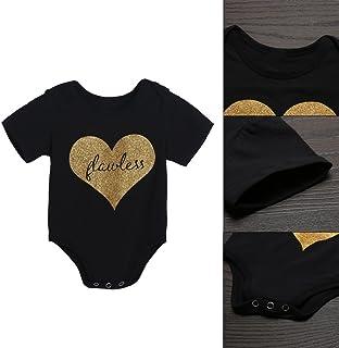 Baby Infant Kleinkind Kids Herz Print Strampelanzug kurzer Ärmel Overall Bodysuit