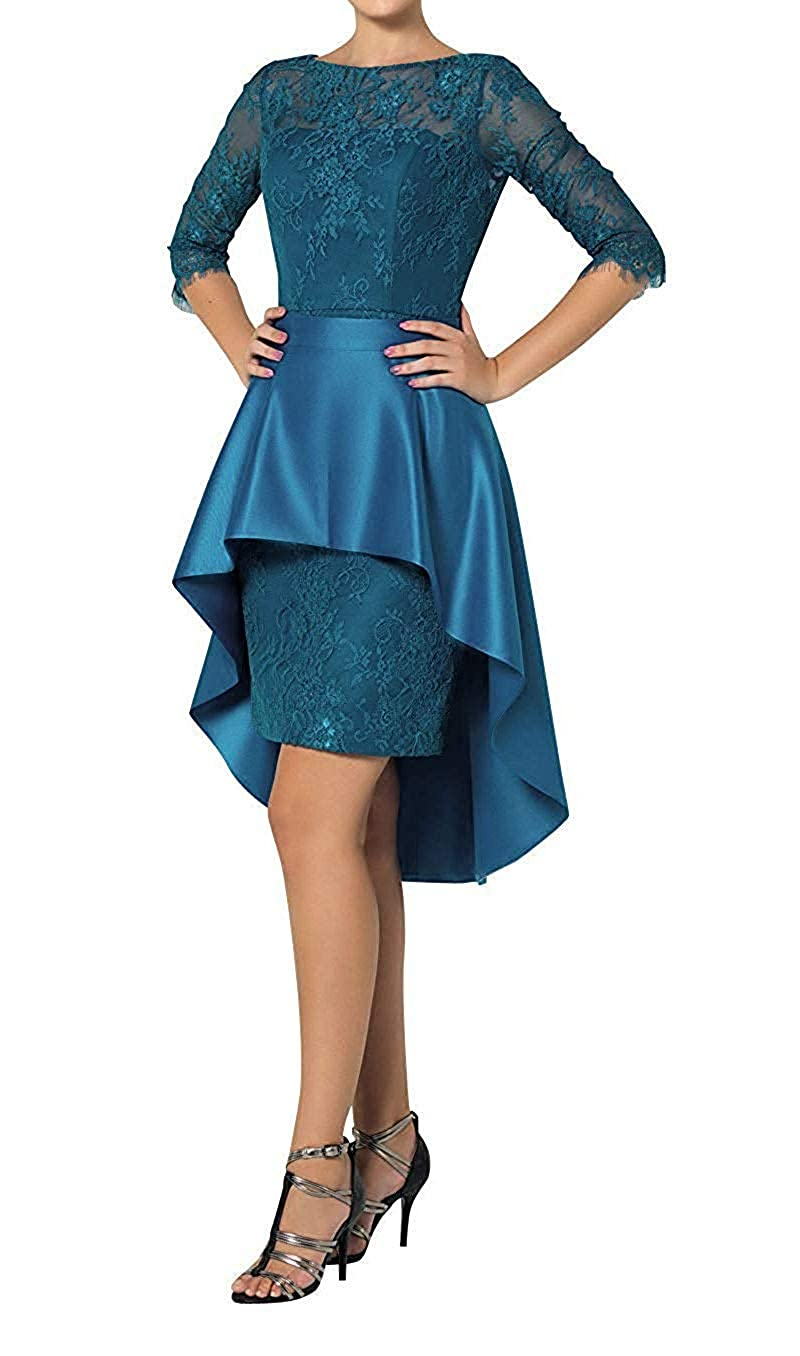 Dark Teal ZLQQ Womens Two Piece Lace Sheath Mother of The Bride Dress Tea Length Evening Gowns