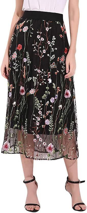 Qijinlook 💖 Falda Tul Mujer/Faldas largas Mujer Fiesta Elegante ...