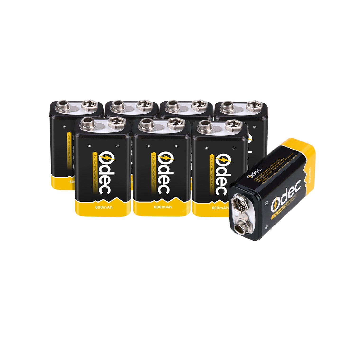 Odec 9V Battery, 8 Pack 600mAh Lithium Rechargeable Batteries