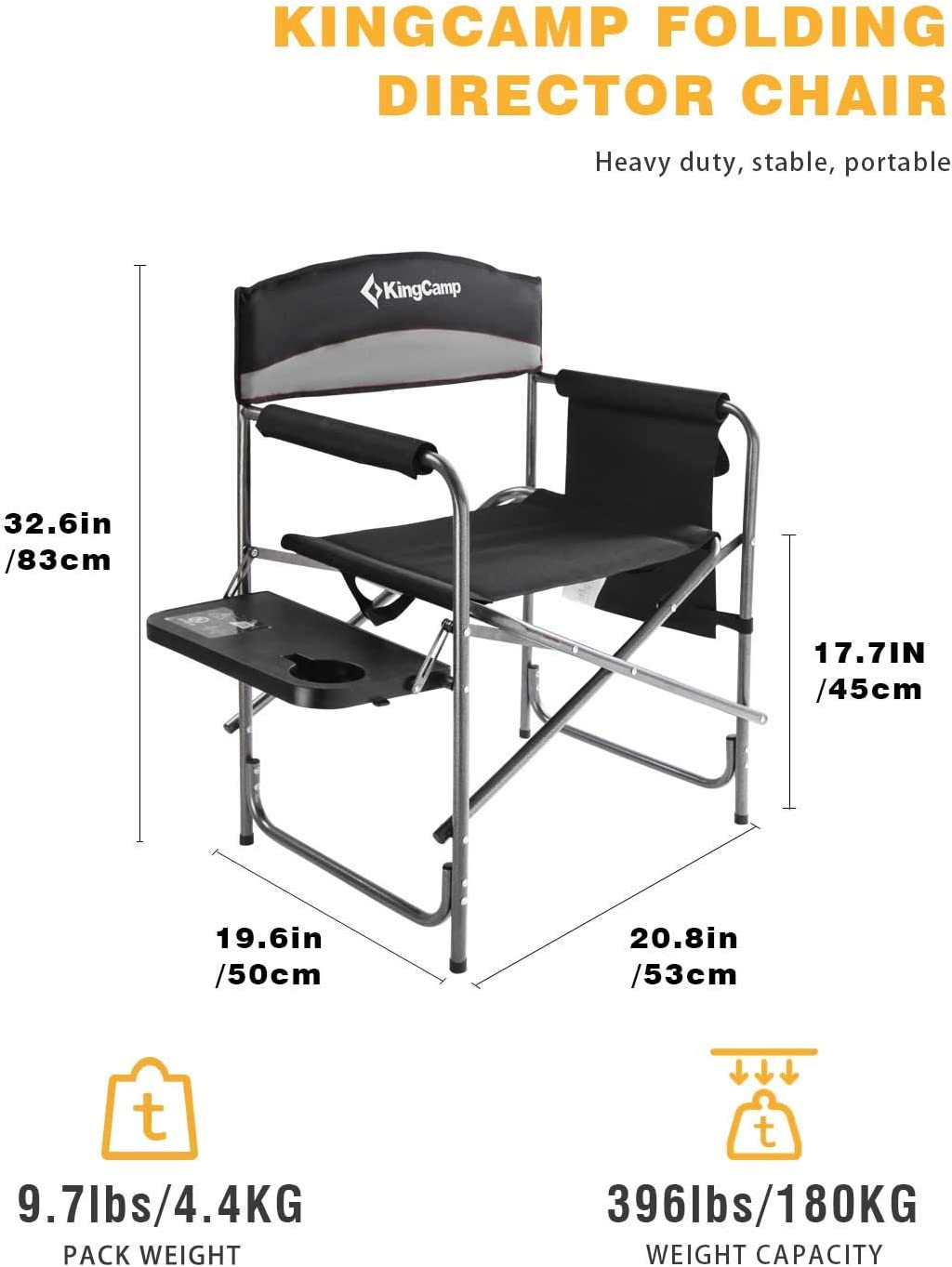 KingCamp Heavy Duty Camping Folding Director Chair Oversize Padded Seat with Side Table and Storage Bag Supports 180 KG Black/Mediumgrey