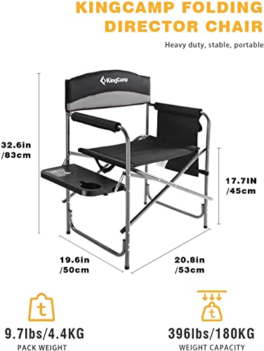 KingCamp Heavy Duty Camping Folding Director Chair Oversize Padded Seat