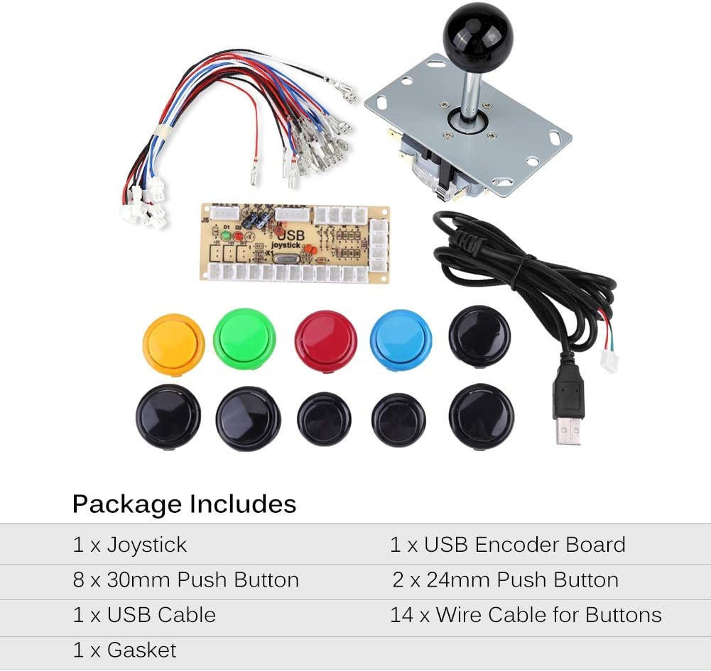 0 Delay Arcade Game DIY Kits Parts 10 Buttons USB Encoder for MAME PC Color Black Kit for Fighting Games Support Joystick Zerone Arcade Game Kits Parts