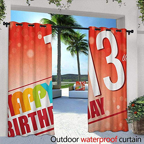LOVEEO 13th Birthday Outdoor Curtains Retro Style Teenage Party Invitation Graphic Design with Bokeh Effect Rays Embossed Thermal Weaved Blackout 84