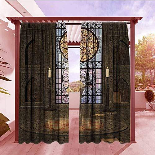 Rod Pocket Pattern Curtains Gothic House Decor Lectern on Pentagram Symbol Medieval Architecture Dark Spell Altar Outdoor Privacy Porch Curtains W96x84L Olive Green Mustard