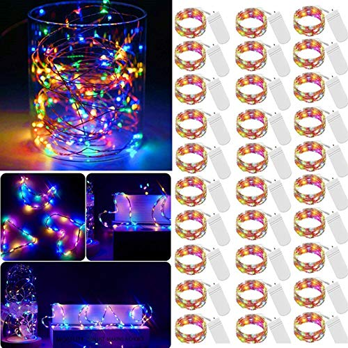 LED Fairy Micro String Lights, Mini Battery Operated String Lights 30 Pack 20 LED Waterproof Lights Starry String Light for Christmas DIY Bedroom Garden Party Decor(Multicolor)