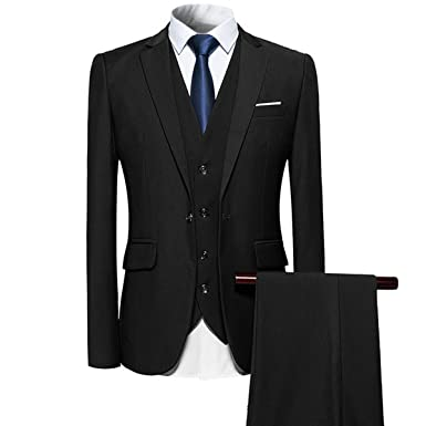 e34a77c0b69 YFFUSHI Mens 3 Piece Suit Slim Fit One Button Solid Color Formal Dress Black