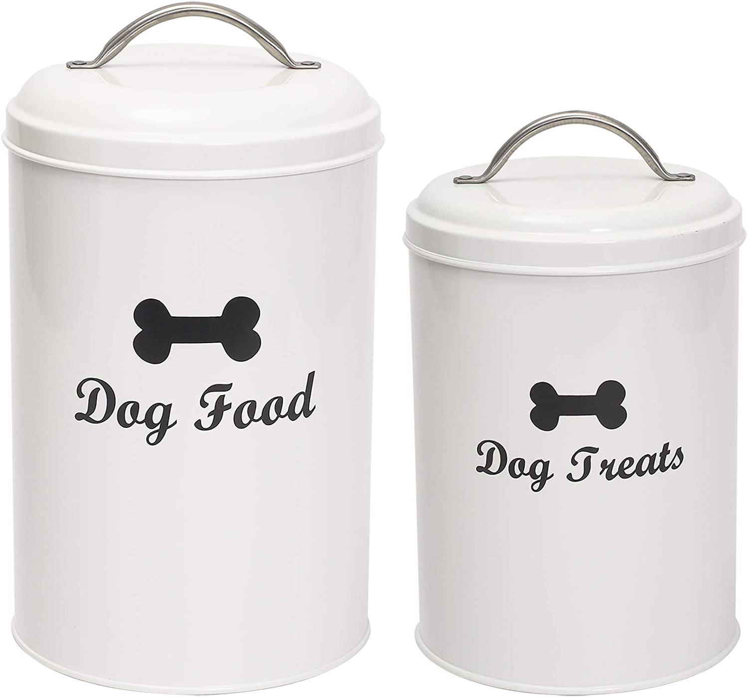 Geyecete Dog Food and Treats Containers Set with Scoop for Dogs - Coated Carbon Steel - Tight Fitting Lids - Pets Treat Canister Set