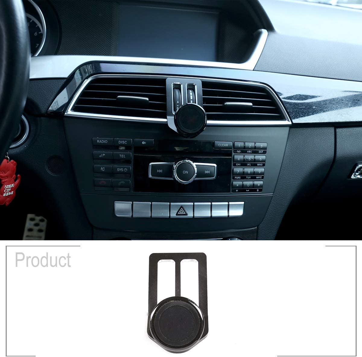 YIWANG Alumium Alloy Mobile Phone Holder Trim For Benz C Class W204 2008-2013 Car Accessories