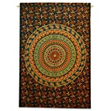Handicrunch Tapestry Indian Cotton Mandala Tapestry Twin Sheets Hanging Hippi...